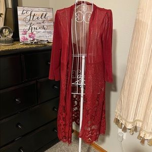 Burgundy Lace Overlay/Duster • Sz. Small